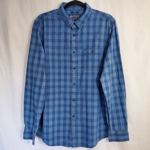 American Rag Blue Checkered Button Down Size Large